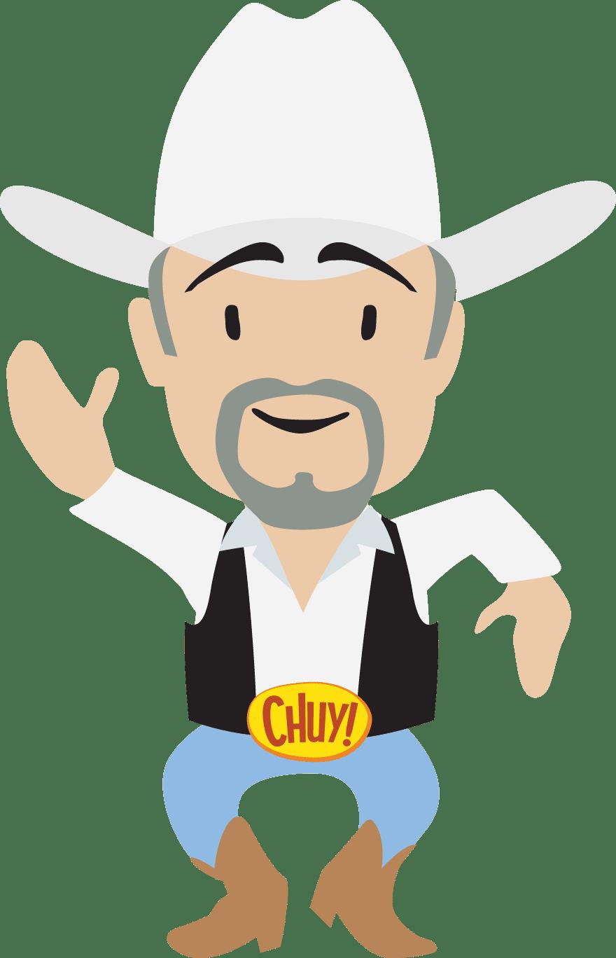 Chuy white shirt and white hat