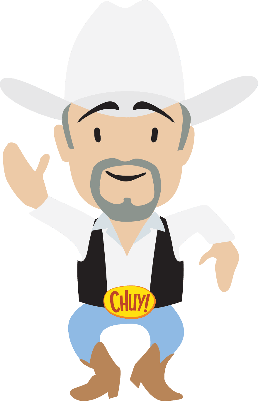 Chuy white shirt and white hat